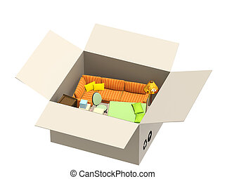 Resettlement - Furniture in box. Object isolated over white