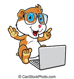 Hamster Geek Sitting With Laptop - Mascot illustration of a...