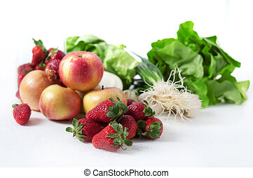 Fruits and vegetables - Fresh ffruits and vegetables on desk