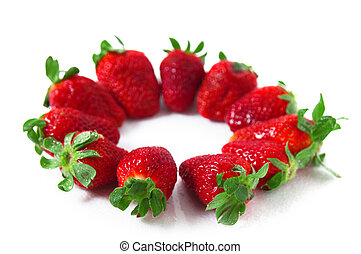 Strawberry - A strawberry, macro shot of texture with...
