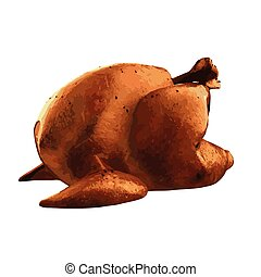Grilled chicken vector illustration