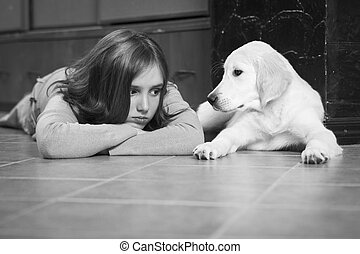 her Best friend - Upset girl with her friend, golden...