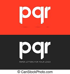 letter P Q R logo paper set background