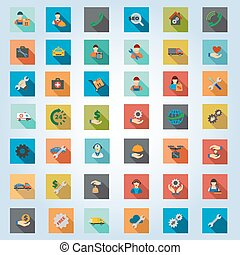 Service Square Flat Longshadow Vector Icon Set
