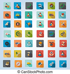 Service Rounded Flat Longshadow Glyph Icon Set - Service...