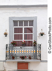 Close view of a typical window from the cubist town of...