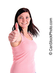 Well Done - A lively young woman praises someone or...