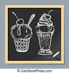 Ice Cream - Hand-Drawn Set of Ice Cream on Chalkboard...