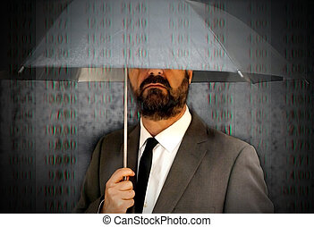 Executive man with umbrella covering himself of a rain of...
