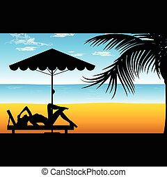woman relax on the beach illustration in colorful - woman...