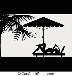 woman relax under the palm illustration
