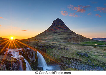 Mount Kirkjufell before sunset - Mount Kirkjufell and the...