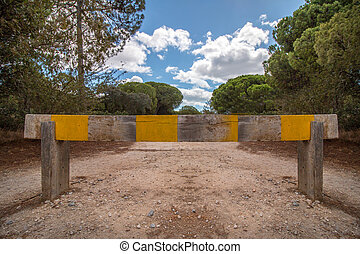 View of a wooden barrier demarcation to enter a pine forest