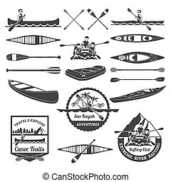 Rafting Canoeing And Kayak Elements Set - Sea kayak...