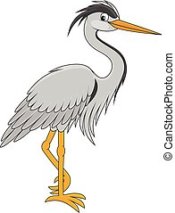 Heron - Vector illustration of a grey heron, on a white...
