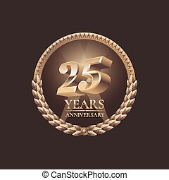 Twenty five years anniversary celebration design Golden seal...