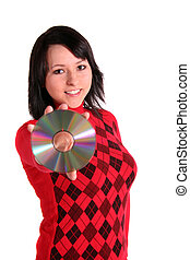 Data Privacy - A young woman bending a cd or dvd. All...
