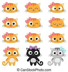 Vector cartoon cat emotions - Set of different cartoon cats...