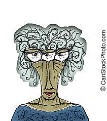 retrato, mujer, viejo, dibujo, caricatura