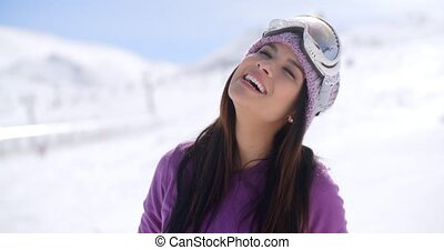 Gorgeous young woman posing in winter snow - Gorgeous young...