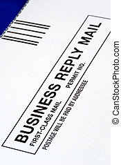 Close-up view of a Business Reply Mail isolated on blue