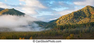 sunrise in taiga - sunrise in autumn taiga and mountains