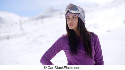 Sexy thoughtful young woman in a winter landscape - Sexy...