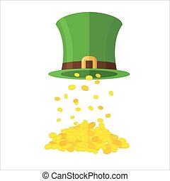 Gold and leprechaun Hat Topper Gold coins poured from caps...