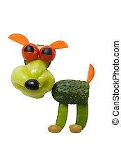 divertido, sonriente, perro, hecho, de, vegetales, en,...