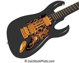 Black and gold  mechanical guitar