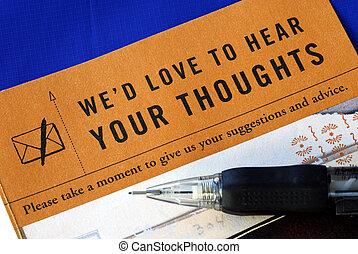 顧客, 充滿, 反饋, 調查, 被隔离, 藍色