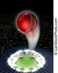 Stadium Night With Ball Swoosh - A red cricket ball...