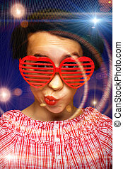 Young girl with funny sunglasses - Young girl with funny...