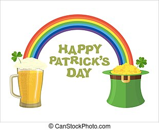 Happy Patricks day. Beer mug and Rainbow. Green Hat Topper leprechaun. Leprechaun gold. Pile of gold coins in Green Hat dwarf. Fairyland Rainbow and pint of ALE with foam