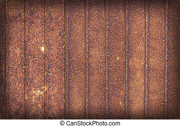 old rusted metal, striped rusty background - old garage door