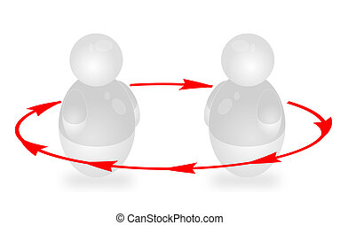 Coaching - Two stylized persons interact. All isolated on...