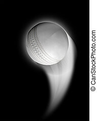 Swooshing Ball - A white cricket ball swooshing into the...