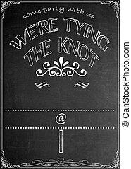 Chalkboard Wedding Party Invitation - Blackboard Were Tying...