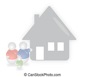 Family Home - A stylized family welcomes someone to visit...