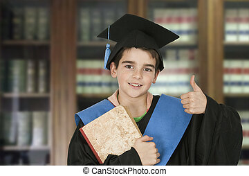 child graduation cap and books in the library