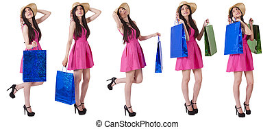 collection of girl with shopping bags
