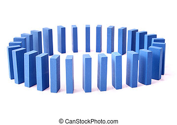 Domino Effect - A circle of blue dominoes All isolated on...