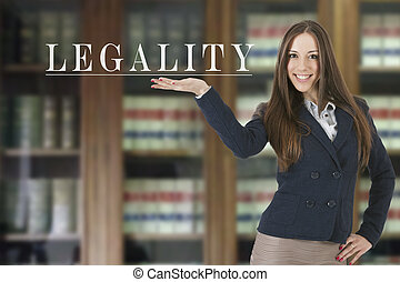 woman showing the concept of legality and law