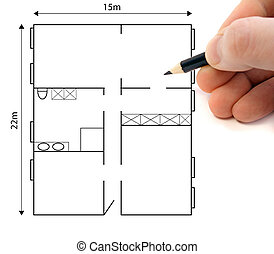 Ground Plan - A hand drawing a ground plan to plan a...