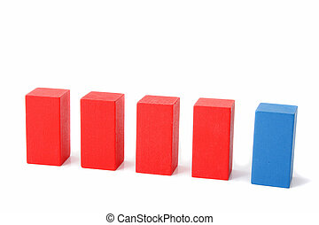 Assimilating - A single block in a line of different colored...