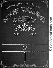 Chalkboard Housewarming Invitation - Blackboard House...
