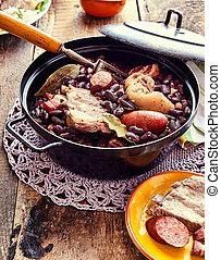 tradicional, Carnes, feijões, guisado, Brasileiro