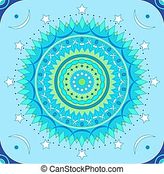Seamless mandala pattern in blue and green colors