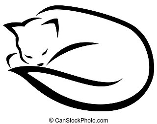 Stylized lying black cat - Stylized lying and sleeping black...
