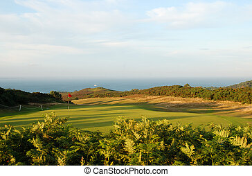 golf course with a view - A golf course in Dorset, England,...